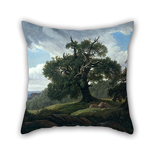 MeiGi Throw Cushion Covers Of Oil Painting Carl Gustav Carus - Memory Of A Wooded Island In The Baltic Sea(Oak Trees By The Sea) 18 X 18 Inches / 45 (Wooded Olive)