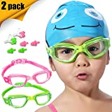 Kids Swim Goggles, 2 Pack Crystal Clear Swimming Goggles for Children and Teenagers, Anti-fog Anti-UV Youth Swimming Glasses, Leak proof, Free nose and ear plugs, one button open straps, for 4-15 Y/O