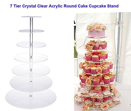 Oguine 7 Tier Crystal Acrylic Round Cupcake Stand, Dessert Cake Tree Tower Maypole Display Stand for Christmas/Wedding/Birthday Craft,US STOCK