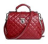Mn&Sue Women Top Handle Satchel Diamond Quilted Handbag Crossbody Bag Shoulder Purse Doctor Style WINE RED