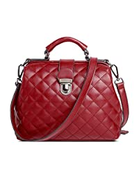 Mn&Sue Designer Diamond Quilted Pattern Leather Top Handle Lady Handbag Shoulder Satchel Bag Doctor Purse