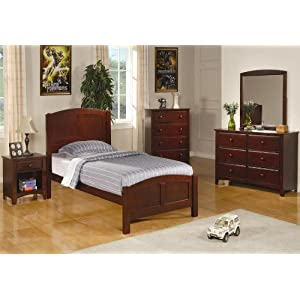 Coaster Home Furnishings Parker Collection Twin Size Bedroom Set in Rich Cappuccino Finish