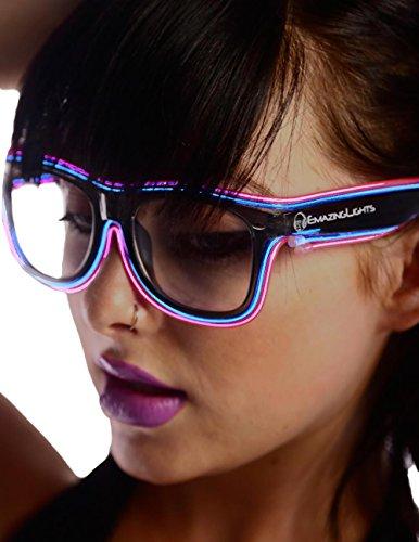 Emazing Lights 2-Color Light Up EL Wire Wayfarer Rave Glasses (Blue/Pink)