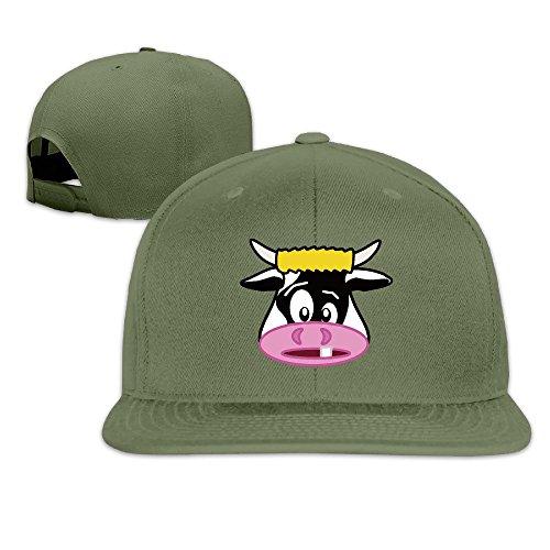 BASEE Free Funny Cartoon Cow Face Clip Art Adjustable Flat Along Baseball Cap ForestGreen