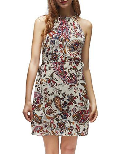 FanXinXing Women's Summer Halter Neck Floral Print Sleeveless Summer Casual Sundress Mini Dress S-Flower Beige