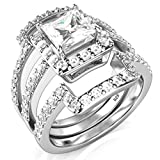 Sz 10 Sterling Silver 3Pcs 925 CZ Cubic Zirconia Engagement Wedding Band Ring Set