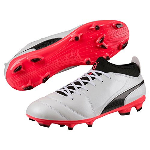 PUMA One 17.3 FG Mens Firm Ground Leather Soccer Boots-White-8