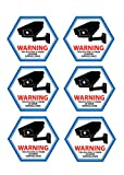 Mandala Crafts Home Business CCTV Surveillance Security Camera Video Warning Sticker Sign (Front Adhesive Blue)