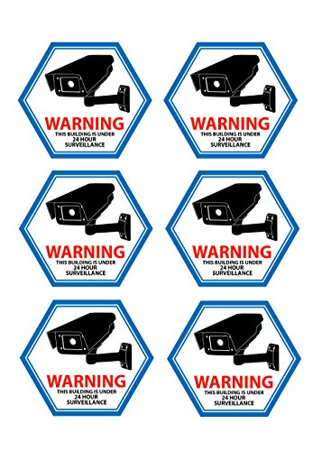 Mandala Crafts Home Business CCTV Surveillance Security Camera Video Warning Sticker Sign (Front Adhesive (Cctv Stickers)
