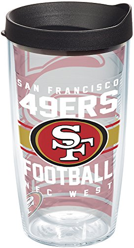 Tervis 1180515 NFL San Francisco 49ers Gridiron Tumbler with Wrap and Black Lid 16oz, - Ounce Tumbler 16 California