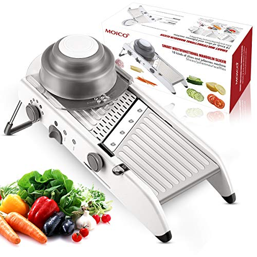 Mandoline Slicer, Vegetable Chopper MOICO 18 Types Multi Adjustable Stainless Steel Blades Professional Grater Safe Manual Cutter Potato Tomato Onion Food Julienne Slicer for Kitchen