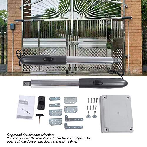 - 24V Automatic Electric Powered Gate Opener Operator Swing Gate Opener Kit with Remote Control Motor and Control Box for Swing Gates