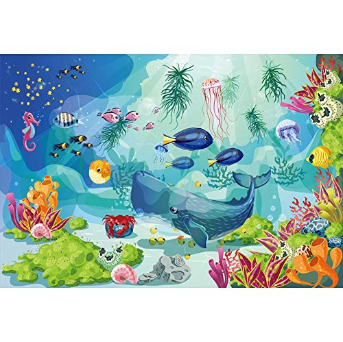 Price comparison product image Yeele 6x4ft Underwater World Background Colorful Seabed Marine Aquarium Coral Reef Photo Backdrop Kids Girl Boy Birthday Party Decorations Under The Sea Photography Studio Props