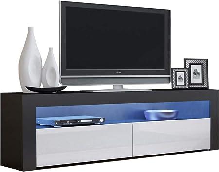 Concept Muebles MULICOLOR 16 RG - Consola de TV para televisores (hasta 70 Pulgadas, Pantalla Plana, Acabado Brillante, Puerta Delantera), Color Negro: Amazon.es: Hogar