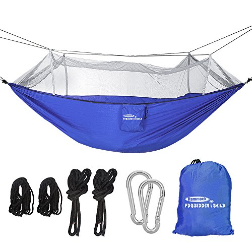 Forbidden Road Camping Hammock Single & Double Net Hammock Capacity 330lbs Lightweight Portable 0.73lbs for Outdoor Hiking Backpacking Travel Backyard Ropes Carabiners Included- Green Blue Pink