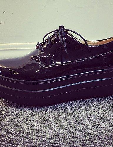 ZQ hug Zapatos de mujer-Plataforma-Punta Redonda / Zapatos de Cuna-Oxfords-Vestido / Casual-Cuero Patentado-Negro / Blanco / Plata , silver-us8 / eu39 / uk6 / cn39 , silver-us8 / eu39 / uk6 / cn39 silver-us5 / eu35 / uk3 / cn34