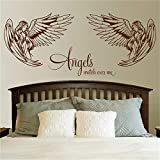 Eisoa Stickers Vinyl Wall Art Decals Letters Quotes Decoration Angels Watch Over Me Room Sticker Angel Decor Beauty Bedroom Lounge Decal