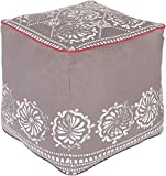 Surya KSPF-023 Kate Spain 100-Percent Cotton Pouf, 18-Inch by 18-Inch by 18-Inch, Taupe/Ivory/Coral