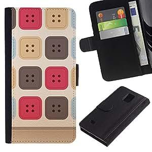 Planetar® Modelo colorido cuero carpeta tirón caso cubierta piel Holster Funda protección Para Samsung Galaxy Note 4 IV / SM-N910 ( Sewing Uniform Pattern Beige )