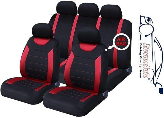 Xtremeauto Ss5293 Type6 Komplettes Universal Set Mit Autositzbezüge Inkl Aufkleber Rot Schwarz Auto