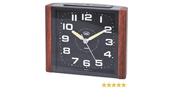 Trevi 3095 - Reloj despertador cuadrado de diseño retro y maquinaria de cuarzo de funcionamiento silencioso - Madera: Amazon.es: Hogar