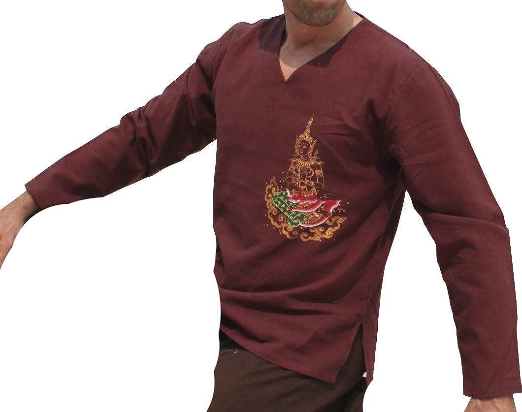 Raan Pah Muang RaanPahMuangコットンVネック襟長袖Meditate Painted inダークブラウンSZ S B01LL2NIWW