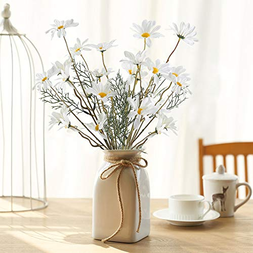 MHMJON 4pcs Artificial Daisy Flowers Bunches Fake Greenery Plants Silk Gerbera Daisy Floral Bouquets Indoor Outdoor Home Kitchen Office DIY Hotel Table Centerpieces Decoration (White)