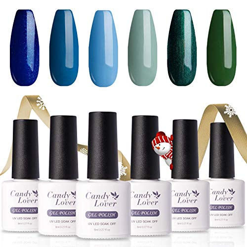 Candy Lover Popular Gel Nail Polish, Ocean Forest Blue Green Pastel UV LED Selected 6 Fall Colors Set - Soak Off Nail Gel Polish Home Manicure Varnish Nature Kit