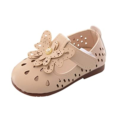 Voberry Baby Moccasins Girl Hollow Out Sandals Leather Princess Dress Mary Jane Flat Shoes (0