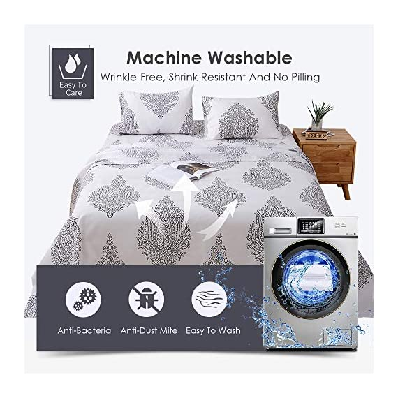 Agedate 4 Piece Brushed Microfiber Bed Sheets Set, Deep Pocket Bed Sheets Queen, Hypoallergenic, Easy to Care, Fade, Stain and Wrinkle Resistant, Queen Size, White and Black Paisley Patterned - ★〖100% Brushed Microfiber〗: Our brushed microfiber sheets are composed of extremely fine fibers of polyester, which are ultra-breathable, ultra-soft and affordable, offer you a luxury hotel-like sweet sleep experience, no more sweaty and sleepless nights. ★〖Breathable and Hypoallergenic〗: We pursue the best and adopt premium microfiber fabric which is mild and non-itching to the skin, free from stimulation, an ideal choice for allergy sufferers. ★〖Durable and Colorfast〗: Using the newest stitching technology, the sheets have high density and exquisite seam which make it will not shrink or pill. Owing silky elegant luster and higher color fastness than cotton fabrics, our bed sheet set is a great gift idea for men and women, Moms and Dads, Valentine's - Mother's - Father's Day and Christmas. - sheet-sets, bedroom-sheets-comforters, bedroom - 51nxB0doICL. SS570  -