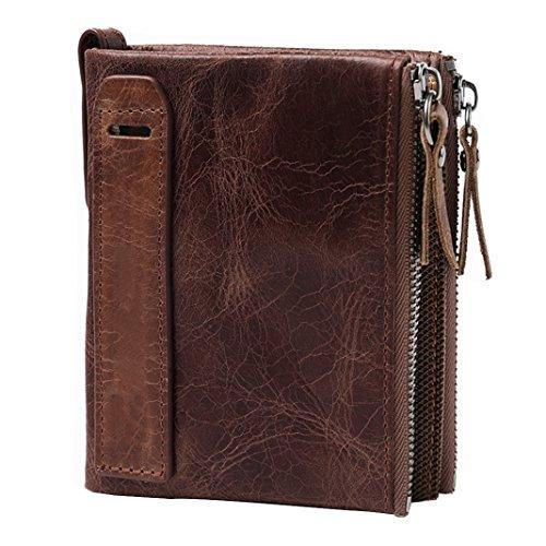 Men's Leather Wallet, Rosa Schleife Vintage Crazy Horse Leather Wallet Purse Credit ID Card Holder Money Clip Cash Wallet Travel Portable Purse Case - Coffee -