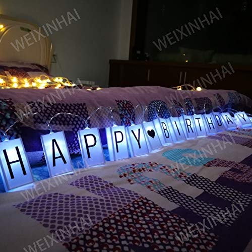 Glow In The Dark Happy Birthday Banner (ALHXF LED Letter Light Box String (78.7in 20led) Glow in The Dark DIY Letter Combination Sign,Happy Birthday Banner Birthday Holiday Decoration Lantern Battery Box String)