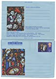 UK Air Letter 9P Unused Queen Elizabeth II Early English Stained Glass Issue
