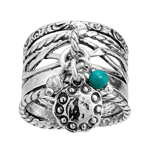 Silpada 'Travel Bug' 1/6 ct Compressed Turquoise & Multi-Charm Ring in Sterling Silver ()
