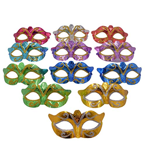Mardi Gras Kid Mix - Masquerade Masks Halloween Party Costume - 12pcs Pack Mardi Gras Unisex Venetian Mask Party Favors for Kids