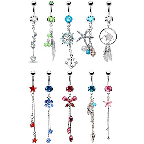 BodyJ4You 10 Belly Button Rings Long Dangle 14G Stainless Steel CZ Crystals Navel Body Jewelry ()