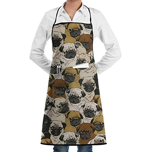 Adjustable Bib Apron with Pockets, Imagen De Pug, Dog, and Wallpaper Adjustable Kitchen Chef Apron with Pocket and Extra Long Ties,Commercial Men & Women Bib Apron for Cooking,Baking,Gardening