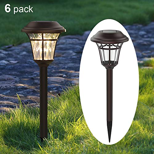 MAGGIFT 6 Lumens Solar Garden Lights Solar Landscape Lights Solar Pathway Lights Outdoor for Lawn, Patio, Yard, Walkway, Garden (6 Pack, Brown)