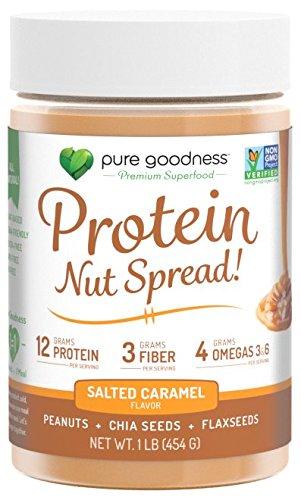Pure Goodness Nut Butter Spread- Salted Caramel, Vegan,16oz, Non GMO Verified, Dairy Free, Soy Free, Gluten Free, 12 grams - Extract 100% Hazelnut Organic