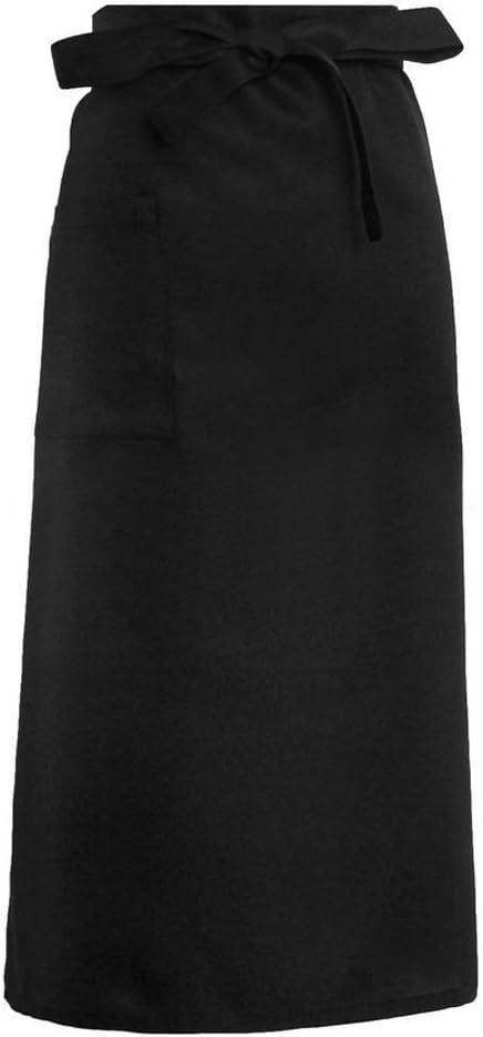 cici store Unisex Half-Length Long Waist Apron with Pocket Chefs Waiters Kitchen Aprons Catering Uniform