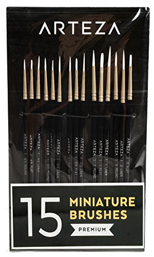 Arteza Detail Paint Brush - Hand Made - Taklon Hair (Set of 15)