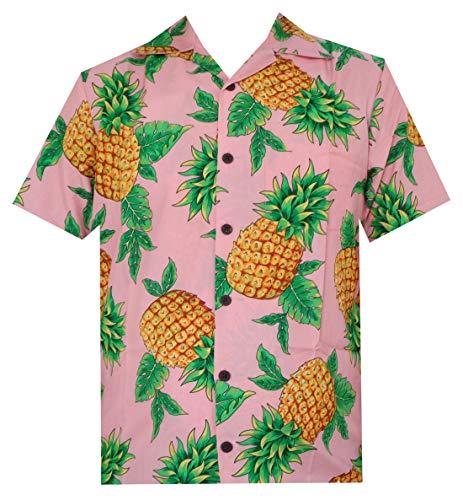 (Hawaiian Shirts Mens Pineapple Leaf Beach Aloha Casual Holiday Short Sleeve Camp (Pink, M))