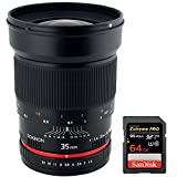 Rokinon 35mm F/1.4 AS UMC Wide Angle Lens for Nikon with Automatic Chip (RK35MAF-N) with Sandisk Extreme PRO SDXC 64GB UHS-1 Memory Card