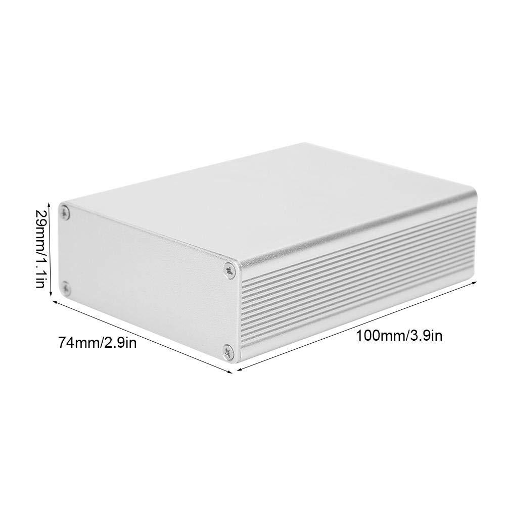 Junction Eectronic Shell 29x74x100mm Caja de proyecto de Aluminio Plateado Mate Integrado DIY Caja de Conexiones con Accesorios