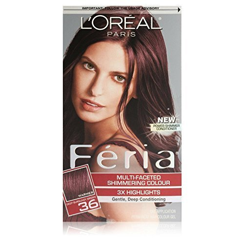L'Oreal Feria Multi-Faceted Shimmering Colour, Warmer, 36 Deep Burgundy Brown, 1 ea