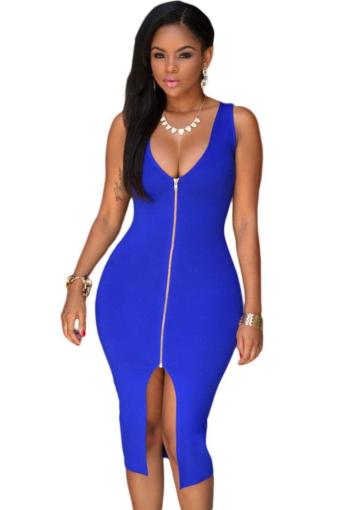 Donna blu Plunging Neckline oro cerniera anteriore Dress Club Wear party vacanza festival Dress tagl...
