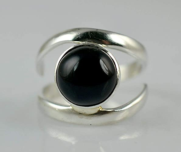 925 Sterling Silver Women Jewelry Natural Black Onyx Ring Size 12 YD74060