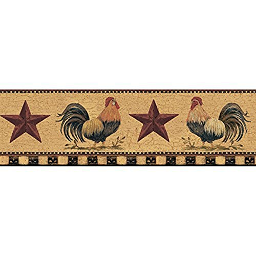 Border Red Rooster (York Wallcoverings Welcome Home YC3402BD Rooster Border, Manila Tan/Barn Red/Bright Red/Black)