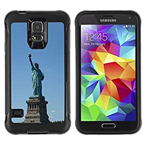 Pulsar Defender Series Tpu silicona Carcasa Funda Case para SAMSUNG Galaxy S5 V / i9600 / SM-G900F / SM-G900M / SM-G900A / SM-G900T / SM-G900W8 , Architecture Statue Of Liberty
