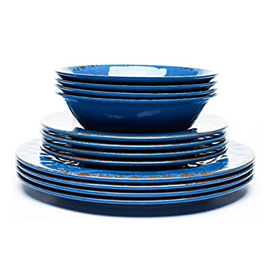 Yinshine Crack Plate and Bowl Dinnerware Set, Blue, 12 Pieces